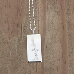 Handwriting Rectangle Necklace