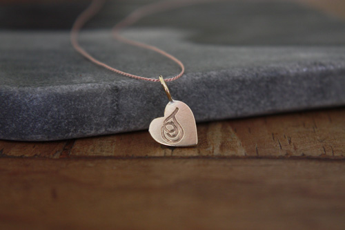gold heart initial charm